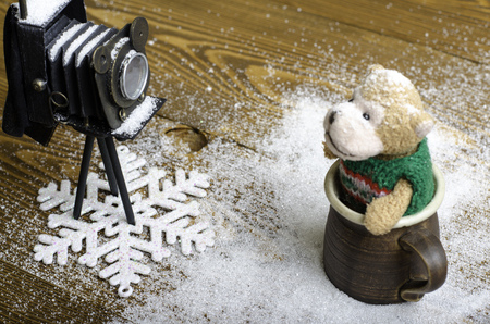 winter photos: Old camera and bear toy on a wooden background.