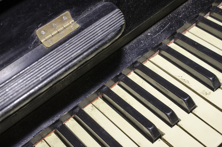 old piano: Old piano keys. Black and white. Close-up. Stock Photo