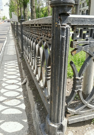 metal: Metal fence along the road. Stock Photo