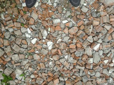 debris: Background. Debris and shoes.
