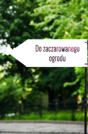 krakow: A pointer to magic garden. Krakow. Poland. Spring 2016. Stock Photo