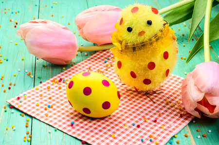 lunares rojos: Easter egg, chick with red polka dots. And pink tulips. Foto de archivo