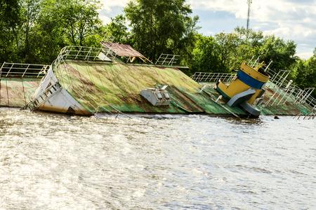 Sunken ship on the Dnieper River in Ukraine near the city of Kiev.