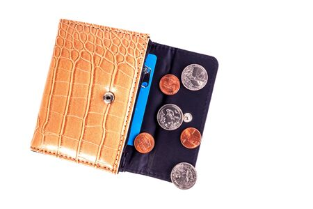 Open brown beige leather pocket wallet with coins one cent and a quarter dollar nearby. Financial crisis, poverty, lack of money. Isolated on white background. Flat lay. Top view. Close-up. 版權商用圖片