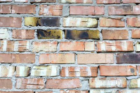 Abstract background. Old red brick wall texture for your text or design. Close-up. Soft focus. Outdoors.