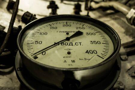 Old depth gauge in Russian submarine