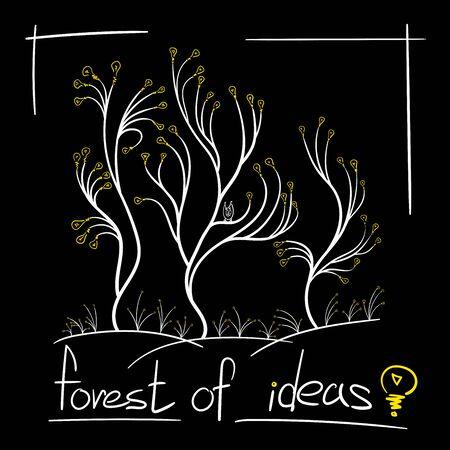 concept many ideas tree light bulbs grow