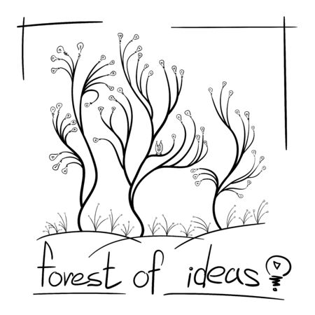 concept many ideas tree light bulbs grow