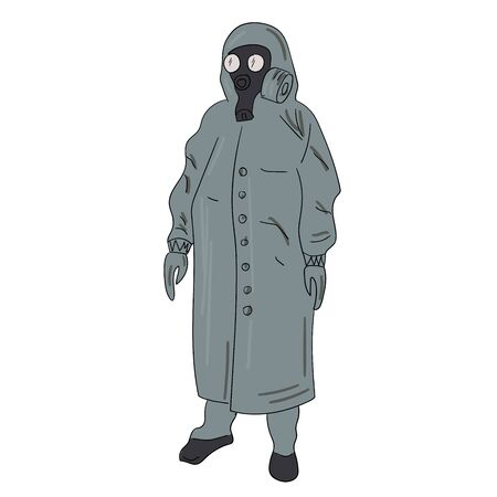 man in chemical protection of gray and gas mask