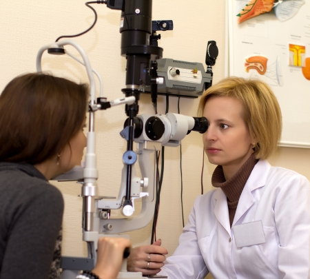 Ophthalmologist doctor & patient photo