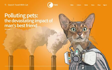 Pollution affects not only humans, even your beloved pets is no exception. Cat with the half face mask staring to the future with triple chimney still smoke in the background. Иллюстрация