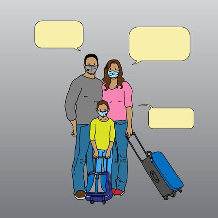 Group of family wearing masks to protect themself from any pollution or viruses along with their luggages in doodle style with minimum simple and clean coloring. Stock Illustratie