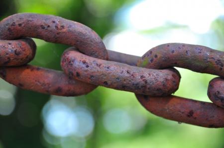 close up rust chain shallow dof Stock Photo
