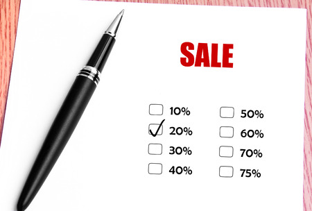 discounted: Close Up Black Pen With Checked 20 Discounted Rate At Sale Promotion Stock Photo