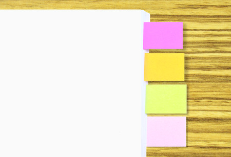 space for writing: Stack Of A4 Paper With Colorful Tagging For Easy Reference Blank Space For Writing Text At A4 Paper And Its Tagging