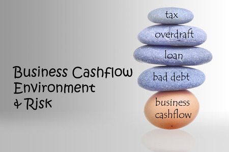 Stack Of Rocks Over Fragile Chicken Egg For Business Cashflow Environment And Risk Concept photo
