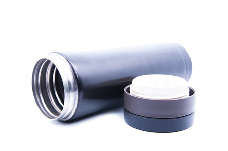 thermo: Black Thermo Flask Over White Background