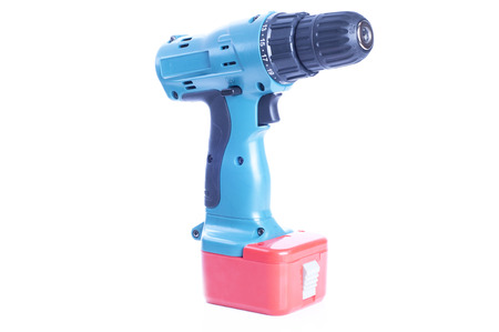 tool chuck: Cordless Drill Over White Background
