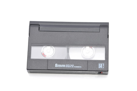 8mm Computer Tape Backup Data Cartridge Over White Background photo