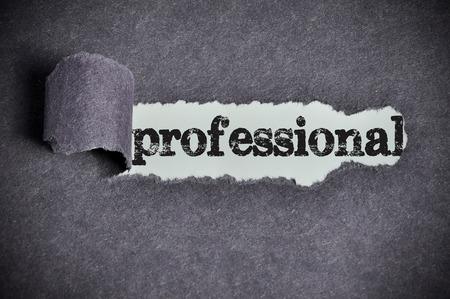 professional  word under torn black sugar paper