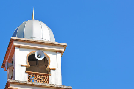 space   area: Mosque Tower With Morning Blue Sky With Copy Space Area