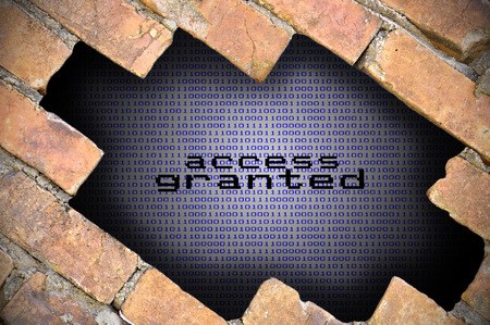 access granted: Business Concept For Data Security  Hole In Brick Wall With Binary Digit Background Inside With Access Granted Word.