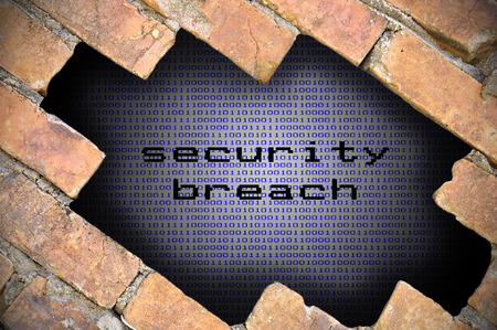 security breach: Business Concept For Data Security  Hole In Brick Wall With Binary Digit Background Inside With Security Breach Word.