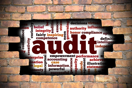 provide information: Business Concept  Hole In The Brick Wall Reveal Word Cloud Of Audit And Its Related Words.