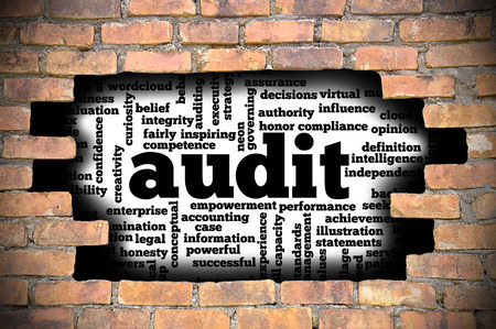 Business Concept  Hole In The Brick Wall Reveal Word Cloud Of Audit And Its Related Words.