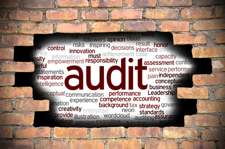 misstatement: Business Concept  Hole In The Brick Wall Reveal Word Cloud Of Audit And Its Related Words.