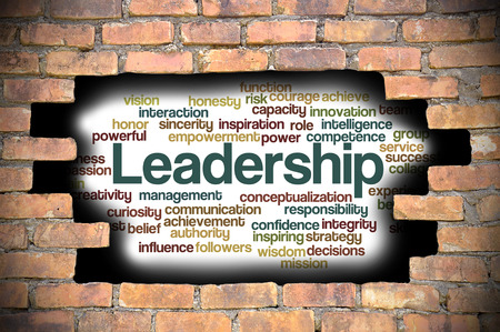 powerful creativity: Business Concept  Hole in The Brick Wall Fill With Word Cloud Of Leadership And Its Related Words.