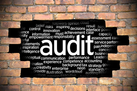 Business Concept - Hole In The Brick Wall Reveal Word Cloud Of Audit And Its Related Words.