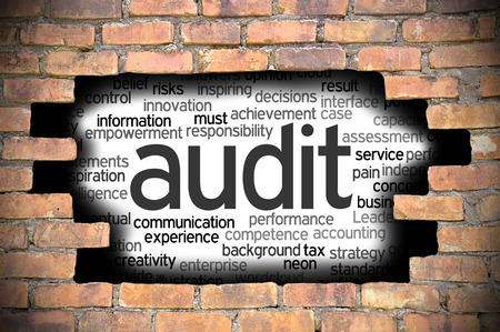 provide information: Business Concept - Hole In The Brick Wall Reveal Word Cloud Of Audit And Its Related Words.