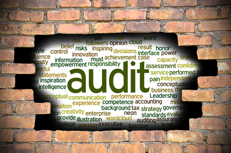 fairly: Business Concept - Hole In The Brick Wall Reveal Word Cloud Of Audit And Its Related Words.