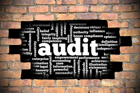 governing: Business Concept - Hole In The Brick Wall Reveal Word Cloud Of Audit And Its Related Words.