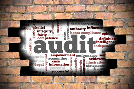 seeks: Business Concept - Hole In The Brick Wall Reveal Word Cloud Of Audit And Its Related Words.