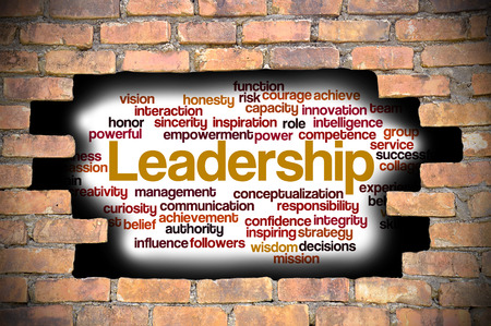 powerful creativity: Business Concept - Hole in The Brick Wall Fill With Word Cloud Of Leadership And Its Related Words.