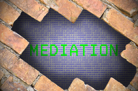 mediate: Hole In Brick Wall With mediation Word. Stock Photo