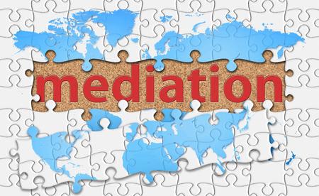 Mediation Wort mit offenbaren Stichsäge. Standard-Bild - 40816937