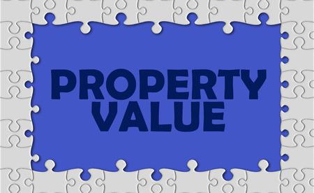 property value with jigsaw border. Stock Photo