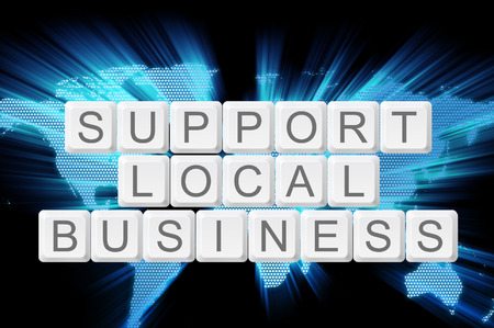 local business: support local business  keyboard button with world background.