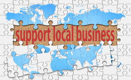 local business: support local business word with reveal jigsaw. Stock Photo