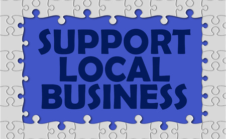 local business: support local business with jigsaw border.