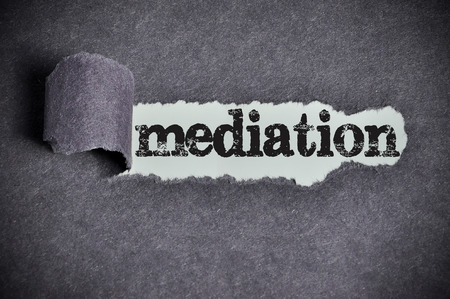mediation word under torn black sugar paper. Archivio Fotografico