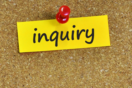inquiry: Inquiry  word on notes paper with cork background. Stock Photo
