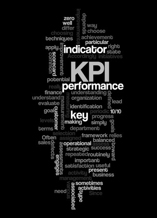 Word cloud of key performance indicator (kpi) and its related words. Stock Photo