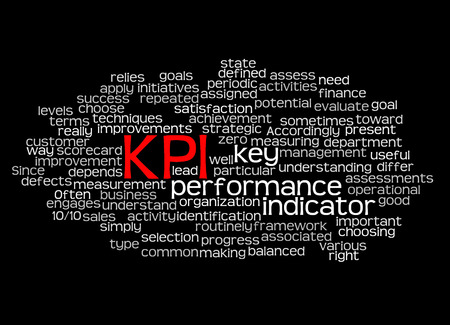 implement: Word cloud of key performance indicator (kpi) and its related words. Stock Photo