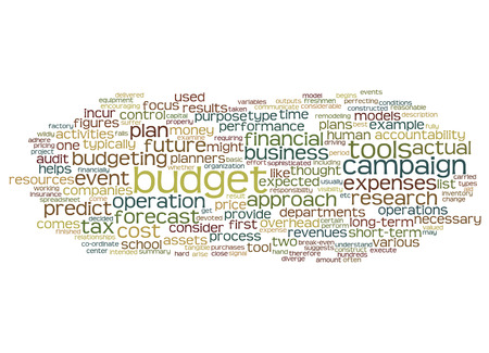 stimulus: Word cloud of budget and its related words. Stock Photo