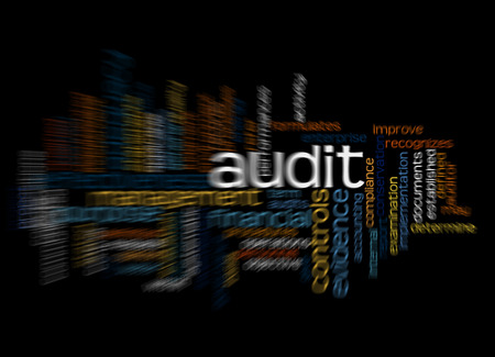 misstatement: Word cloud of audit and its related words. Stock Photo