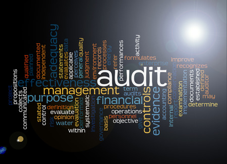 Word cloud of audit and its related words. Stock Photo